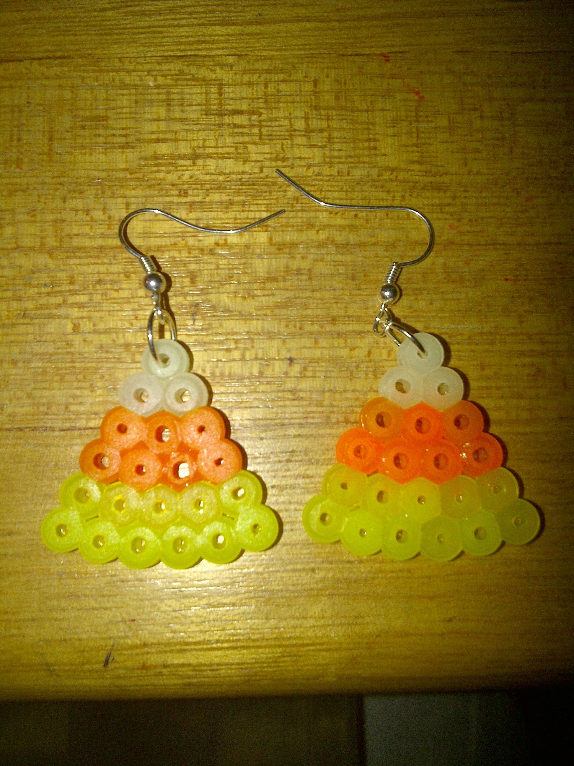 Candy Corn Earrings Perler Beads By Tiffany Sheaffer Great Idea For  Halloween