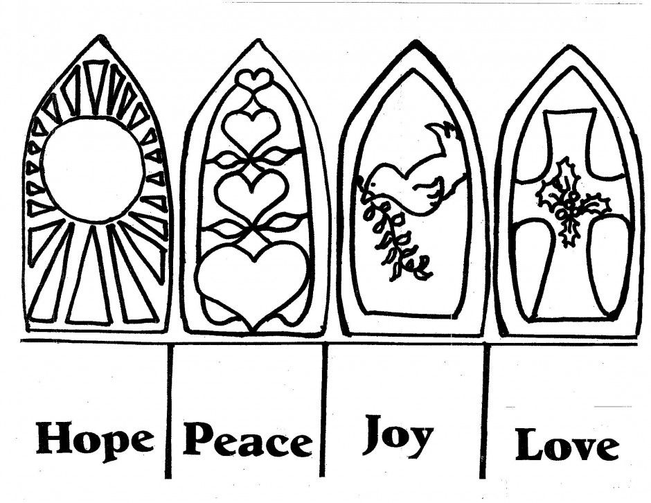 Hope Peace Joy Love Advent Coloring Coloring Pages Christmas Coloring Pages