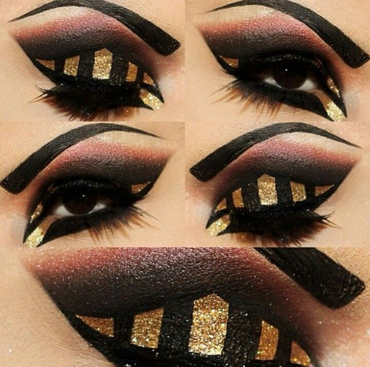Egyptian arabic black and gold eyeshadow makeup | Makeup ...