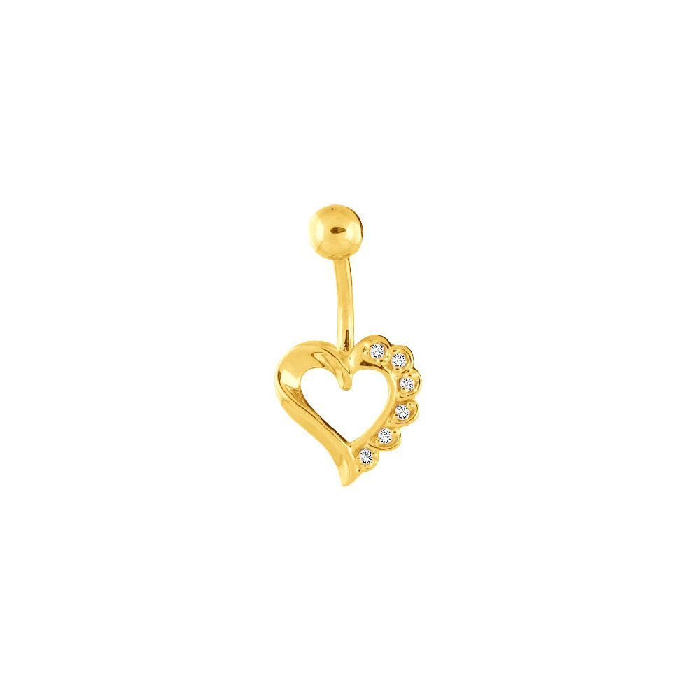 14K Yellow Gold .06 ct tw Genuine Diamond Hollow Heart Belly Ring