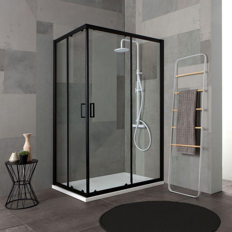 Box doccia 80x120 profilo nero opaco cristallo trasparente