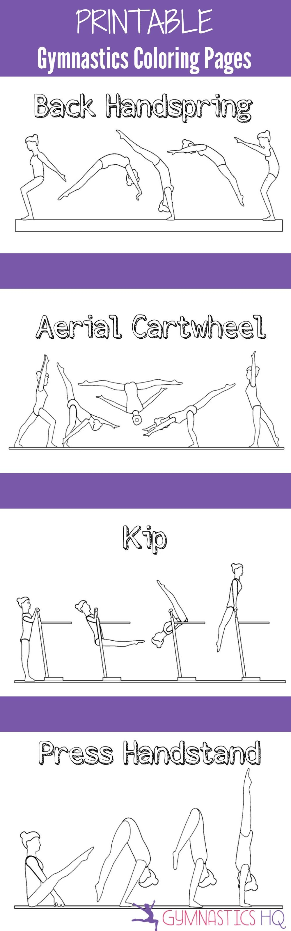 Printable Gymnastics Coloring Pages-- 5 pages of gymnastics skills ...