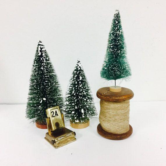 Vintage Bottle Brush Flocked Christmas Trees/ Wood Base / Set of 3