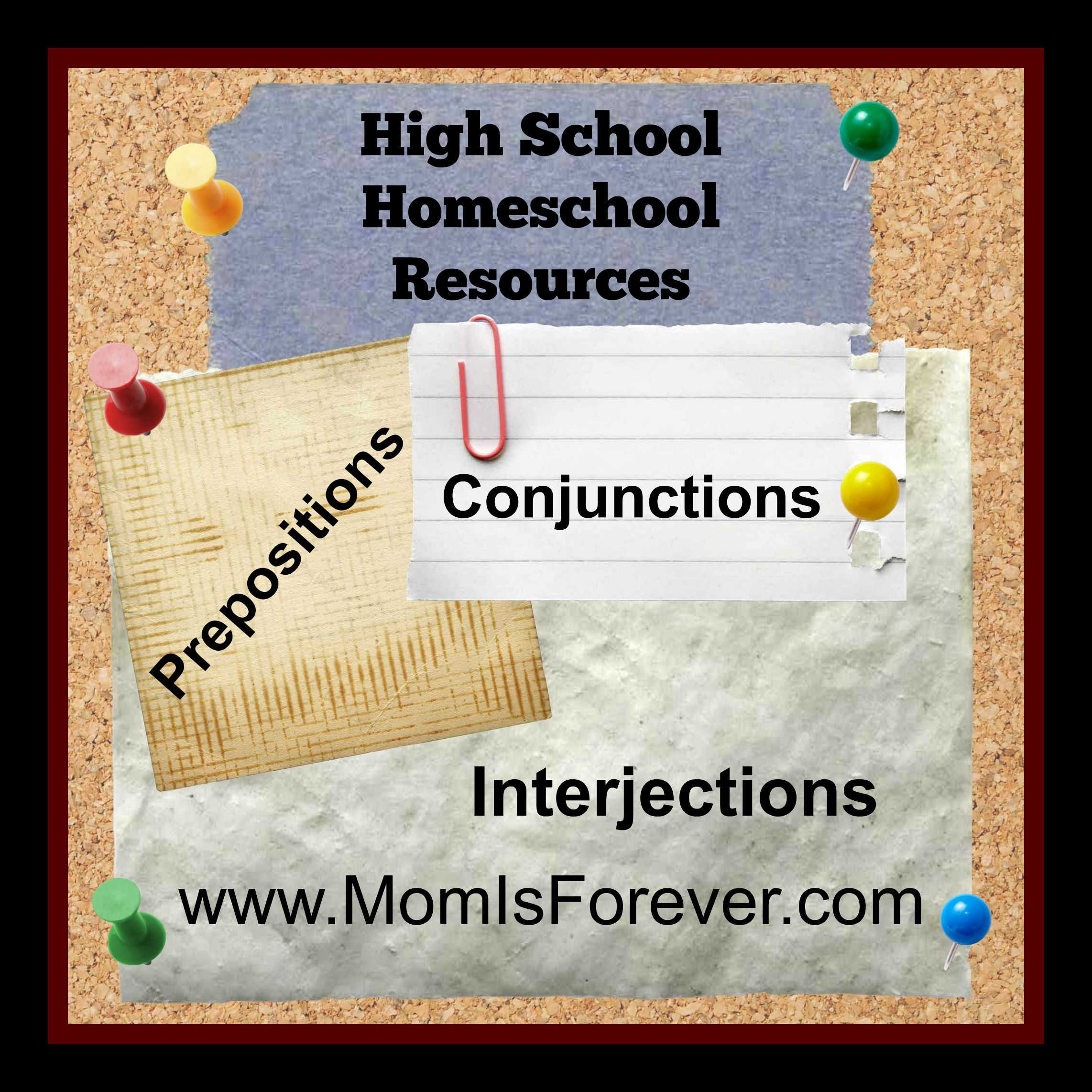 Prepositions Conjunctions And Interjections High School
