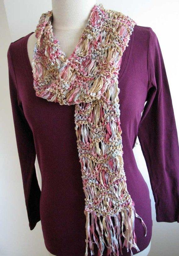 Easy knit scarf printable pattern pdf, Ripple scarf, drop stitch ...