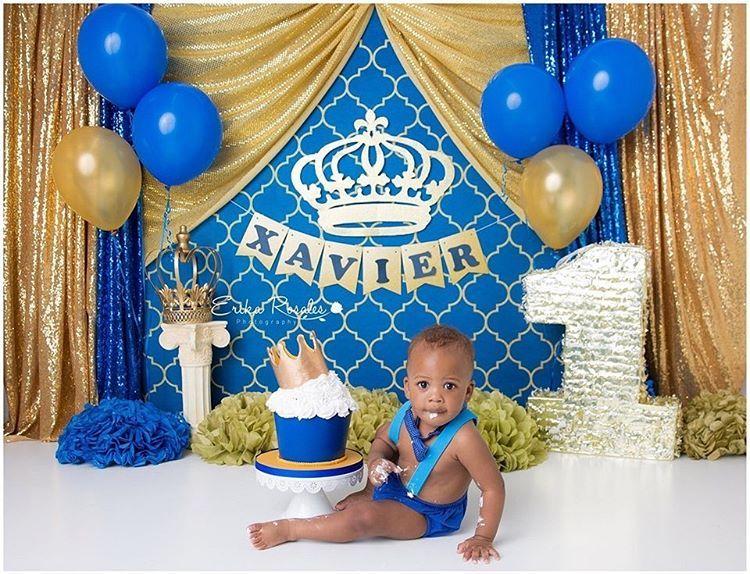 Royal Prince Gold And Blue Cake Smash Theme First Birthday Prince Theme Cake Smash Theme Baby Boy 1st Birthday Party Smash Cake First Birthday