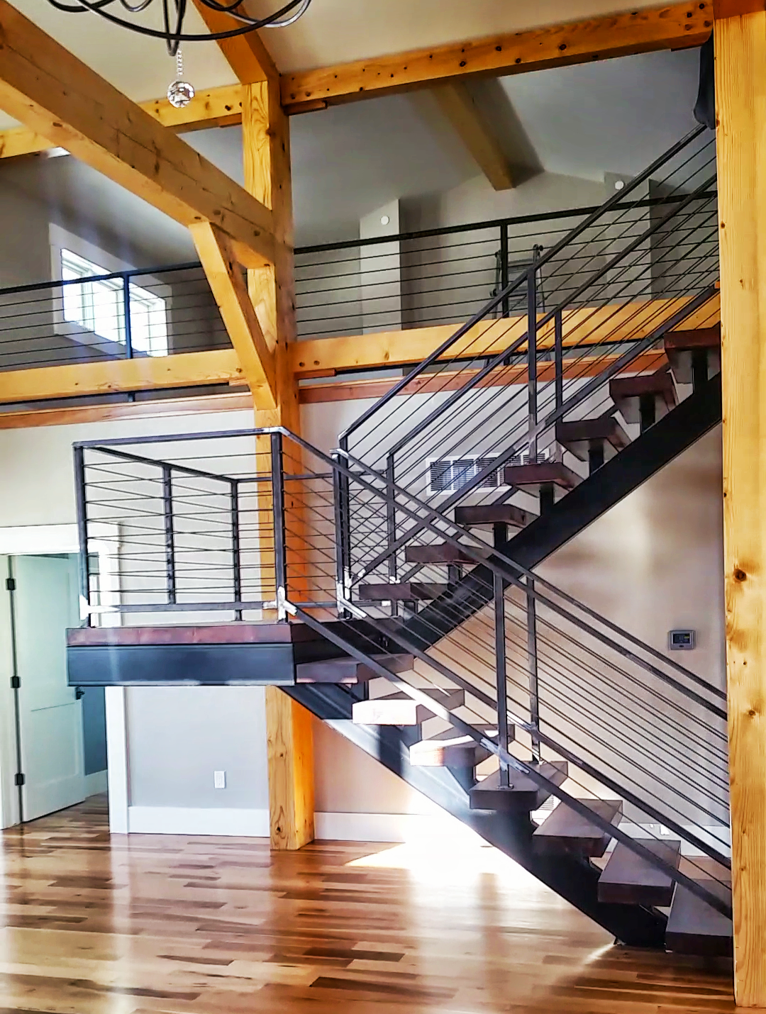 Custom stairs with mono stringers a floating landing for Custom stairways