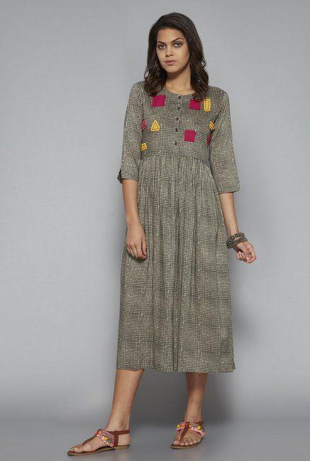 5d4ebaf0d9850 Bombay Paisley by Westside Dark Grey Dress | utsa in 2019 | Gray ...