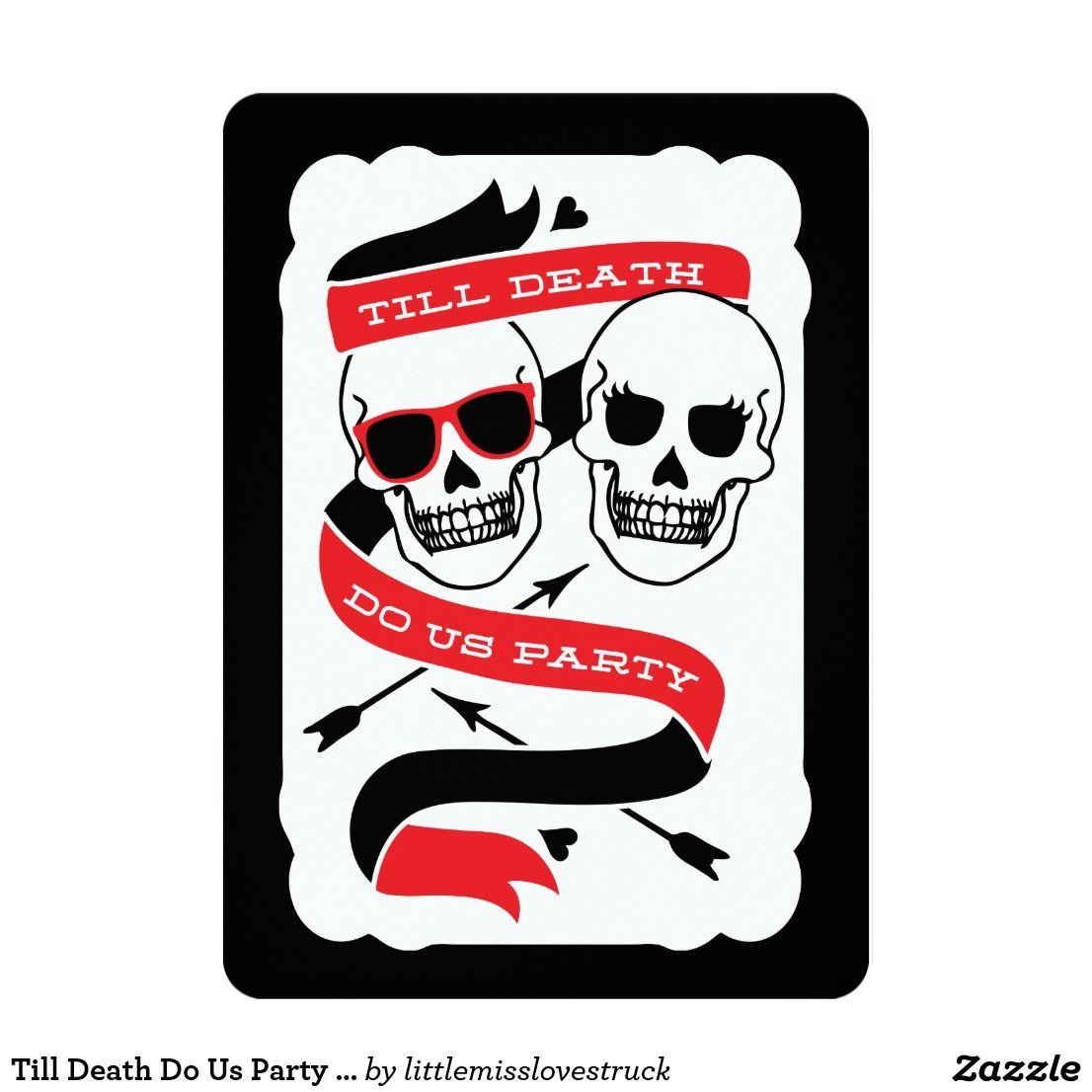 Till Death Do Us Party - Black and Red Wedding Card | Till death ...