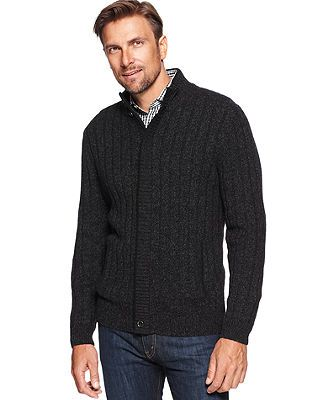 Tasso Elba Sweater, Zip-Front Buttoned Mock Neck Marled Chunky Lambswool Cardigan