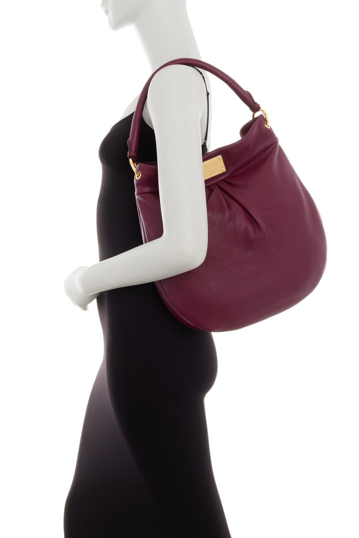 Marc Jacobs - Classic Leather Hobo Bag | Classic Q Hillier Hobo | Color:  AUBERGINE