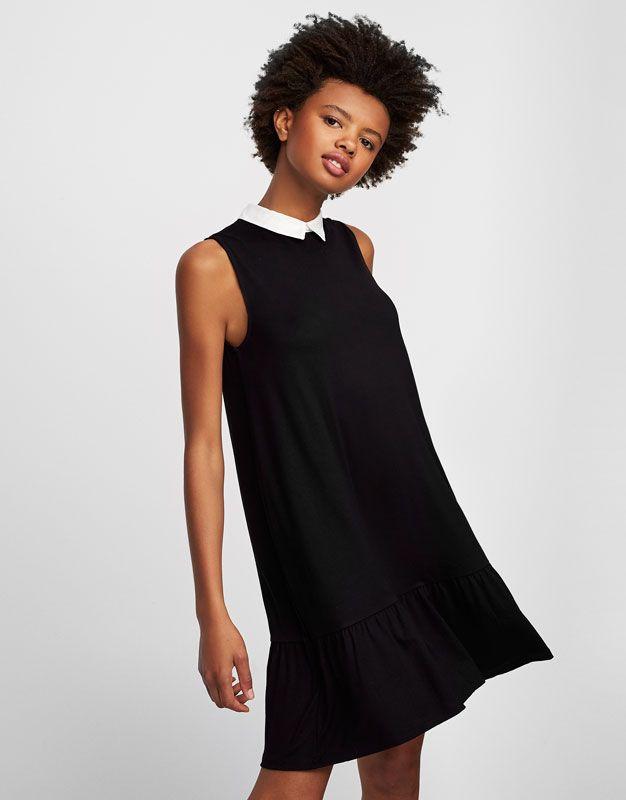 Vestido negro con cuello camisero