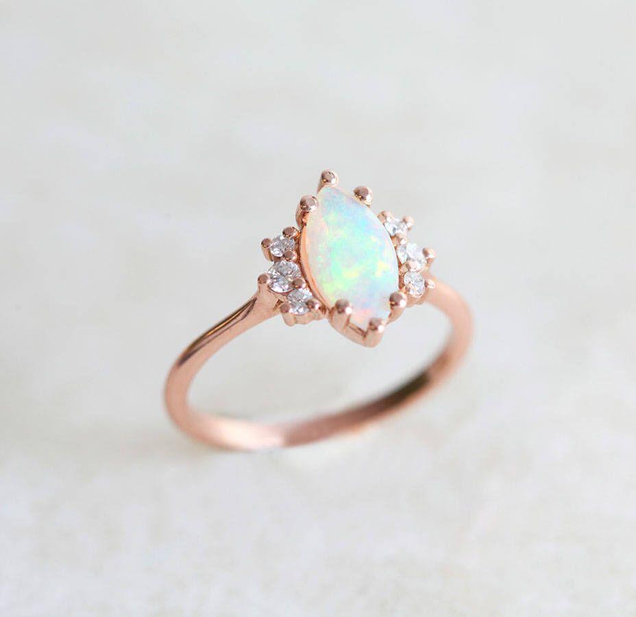 Australian Opal Engagement Ring Marquise Opal Diamond Ring Rose