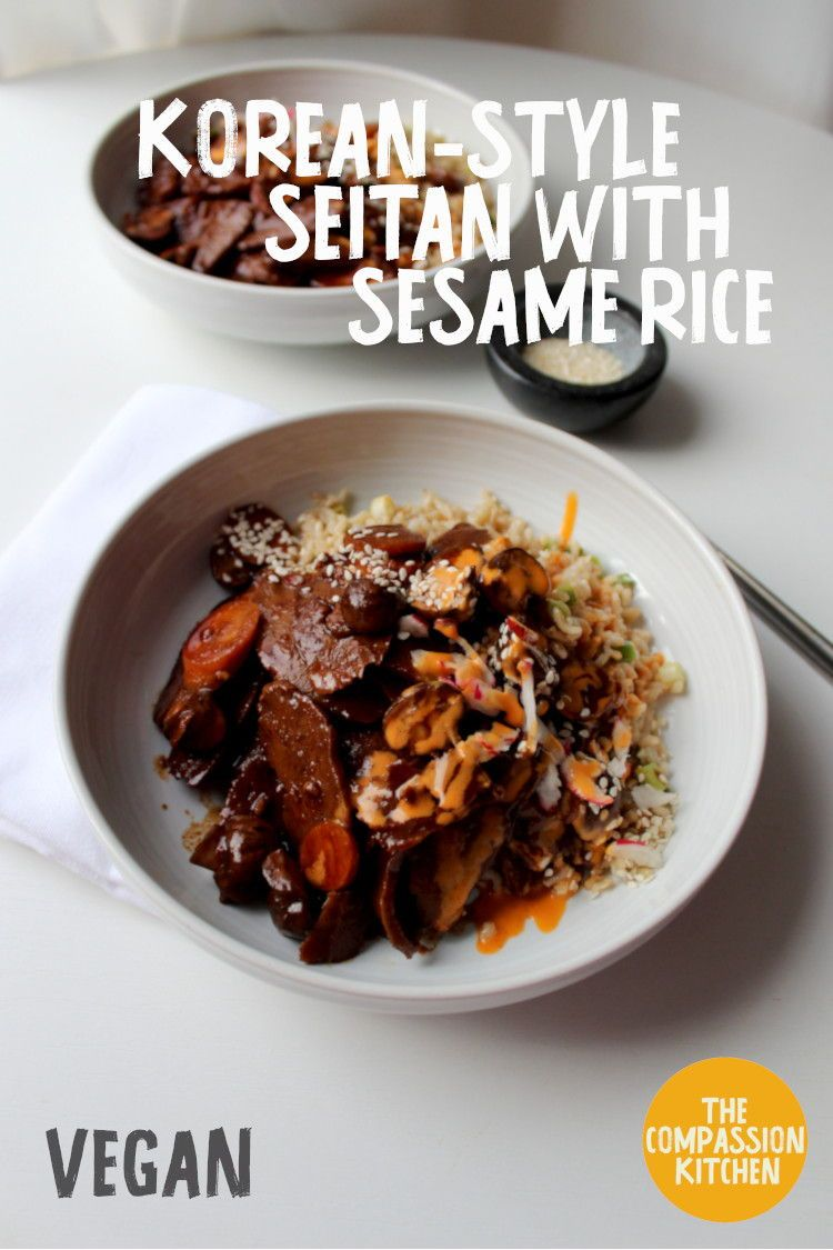 Korean Style Seitan With Sesame Rice