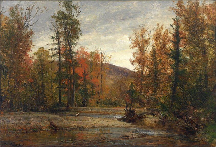 Worthington Whittredge (American, 1820-1910) - Autumn in the Catskills - Oil on canvas
