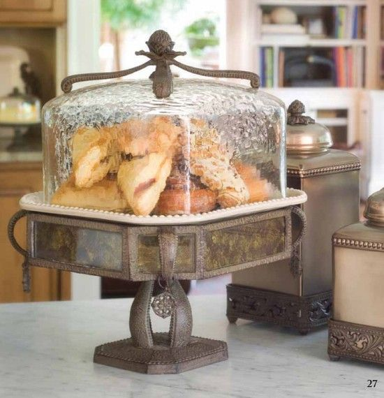 Antique Style Old World Cake Pedestal & Dome-Antique