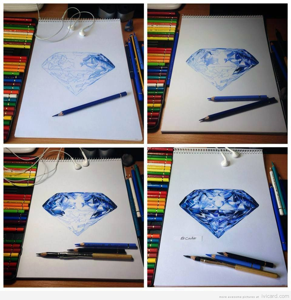 Realistic Color Pencil Drawing Of A Blue Diamond By Paintingart