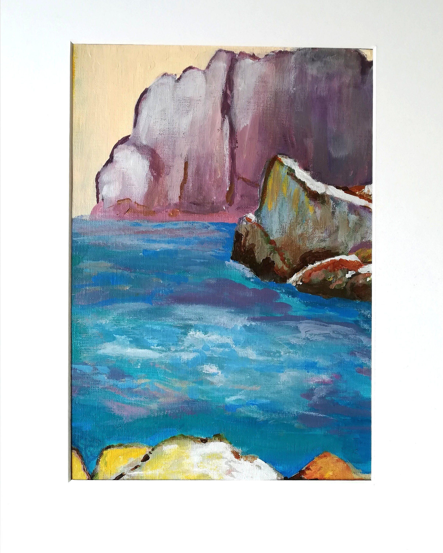 Blush Pink Blue Purple Coastal Painting Nautical Pink Cliffs Original Blush Painting Seascape Ocean Pink Art Blue Pink Abstract Art Pink Abstract Art Beach Ocean Art Ocean Wall Art