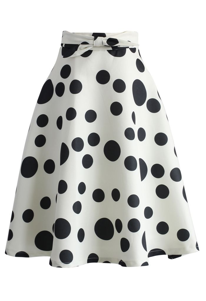 My Dots and Bow A-line Skirt in White - New Arrivals - Retro, Indie and Unique Fashion