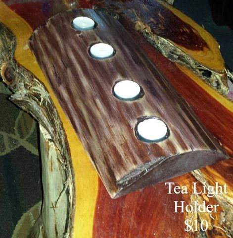 Tea Light holders are now available again! Get one like this for just $10! Can can make 16''(as pictured), all the way up to 5 feet!!!! We can do any variation, bark on, bark off, natural color, stained, or distressed. For a limited time we are offering custom engraving on these pieces. Order yours today to get in time before the holidays!