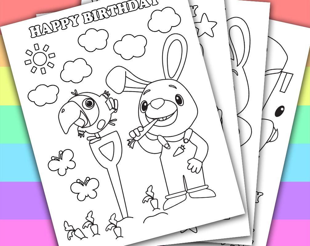 Digital Instant Download Printable Coloring Page This Listing Give You A Series Of 4 Printable Coloring Pag Harry The Bunny Bunny Birthday Baby 1st Birthday