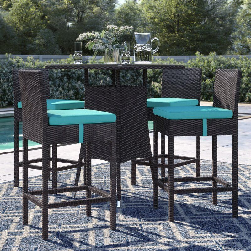 Brentwood 5 Piece Bar Height Dining Set With Cushions Patio Bar