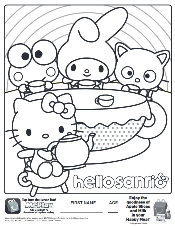 Here Is The Happy Meal Hello Sanrio Hello Kitty Coloring Page