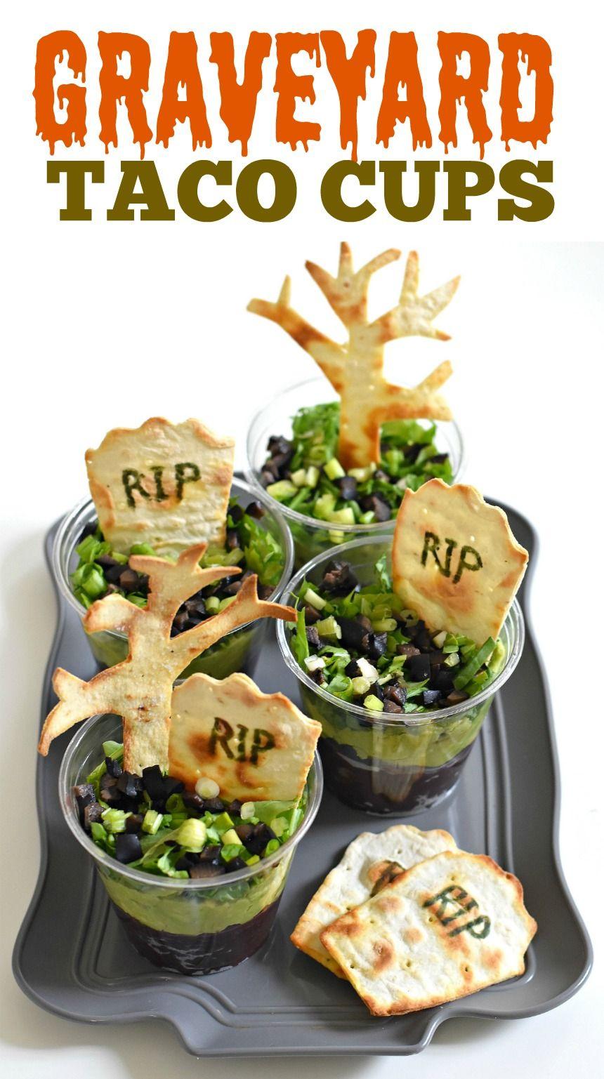 Graveyard Taco Cups #halloweenpotluckideas