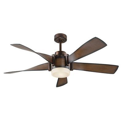 Kichler Lighting 52 In Mediterranean Walnut With Bronze Accents Downrod Mount 5 Blade Ceiling Fan Ceiling Fan With Light Fan Light Led Ceiling Fan
