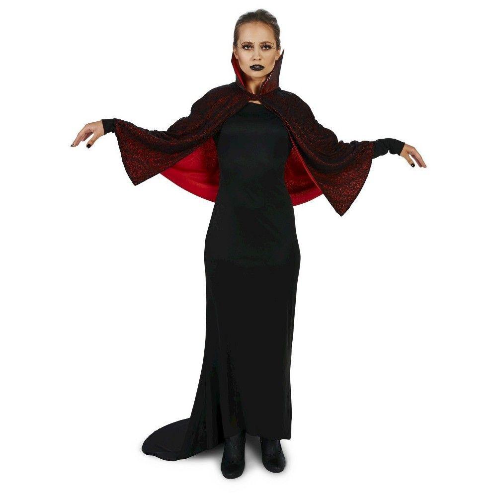 Halloween seductive vampire dress with capelet womenus costume