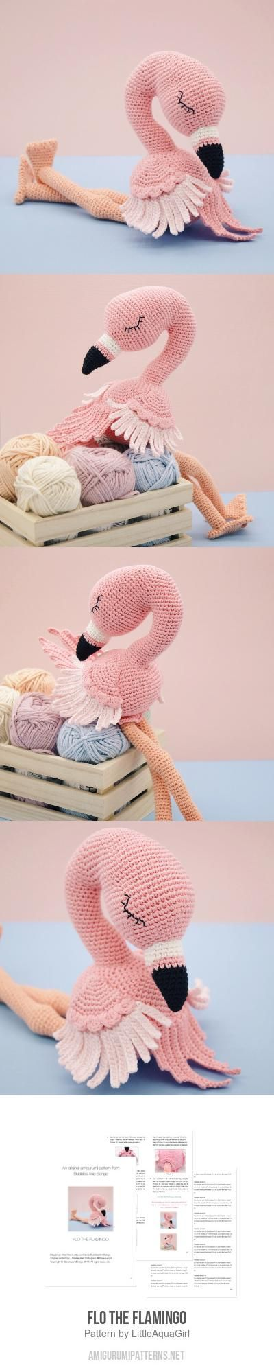 Flo the flamingo is extremely shy and is a bit of a daydreamer...she loves having a good giggle with her close friends! Flo the flamingo pattern by LittleAquaGirl: http://www.amigurumipatterns.net/shop/LittleAquaGirl/Flo-the-Flamingo/