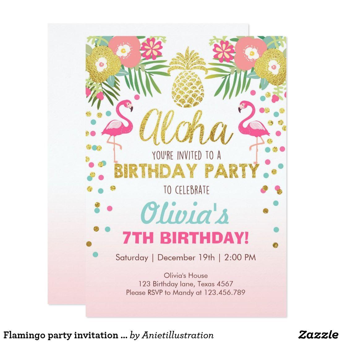 Flamingo party invitation Tropical Birthday luau   Moana/Luau ...