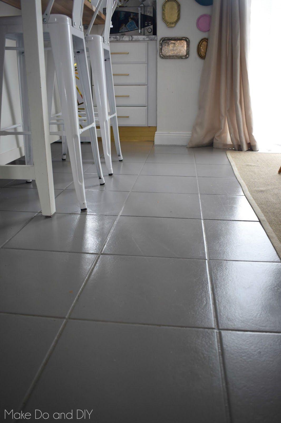 Painted Tile Floor Six Months Later Make Do And Diy Painting Tile Floors Painting Ceramic Tile Floor Tile Floor