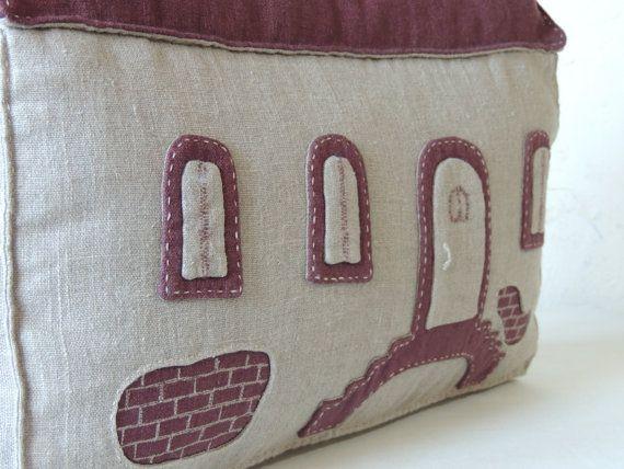 Old House.Original decorative linen pillowhouse by handmadebyzoja, $28.00