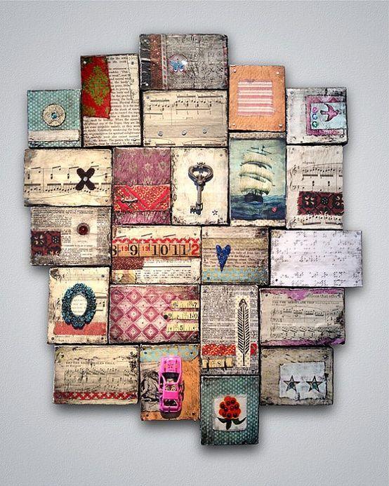 A veces se necesita poco para crear cosas bonitas como estos pequeños cuadros hechos con trozos de palet o de...