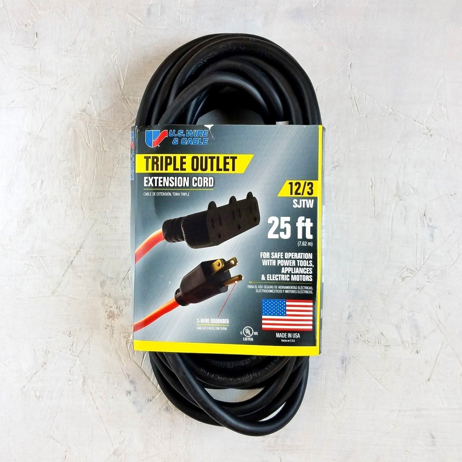 Extension Cords 75577 25 12 Gauge Black Extension Cord W Triple Outlet Made In Usa Buy It Now Only 16 75 On Ebay Extensi Extension Cord Cord 12 Gauge
