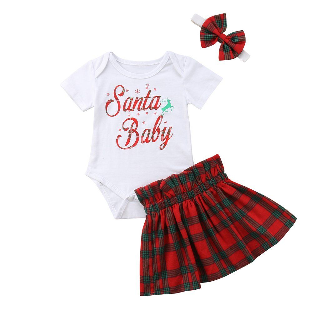 04193006c A darling Chirstmas season outfit for your little princess The onesie comes  with a super cute print The outfit is completed by the plaid skirt and  matching ...