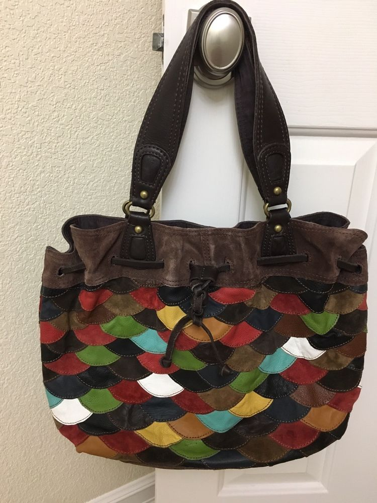 Lucky Brand Leather Suede Multi Color Hobo Handbag Excellent Condition Fashion Clothing
