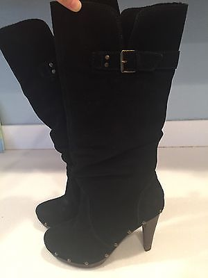 Steve Madden Luxe Pull Up Black Suede Boots. Wood Studded