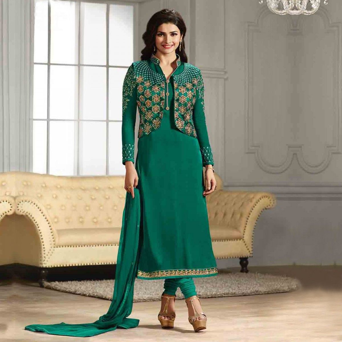 Buy Green Jacket Style Salwar Suit for womens online India, Best ...