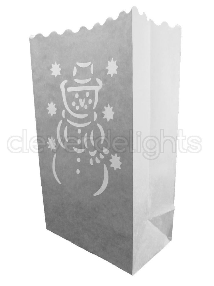 Christmas Holiday Decor Luminaria 10 Luminary Bags White Snowman Design