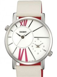 Orient UB8Y004W Valentia Dual Time Watch with a white dial.