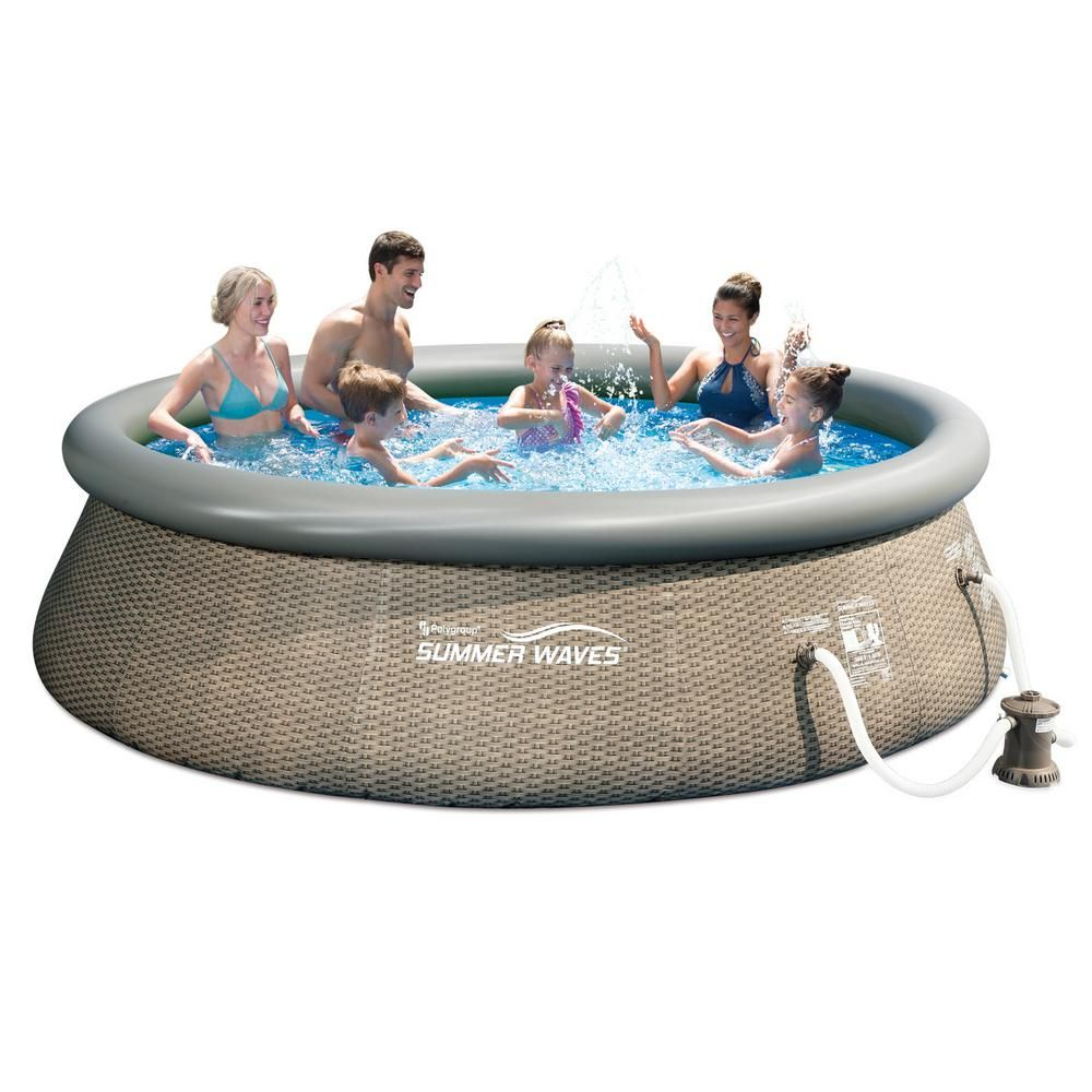 Summer Waves 12 Ft W Round 36 In D Gray Quick Set Ring Above Ground Inflatable Pool With Pump P10012365167 The Home Depot Inflatable Pool Summer Waves Pool
