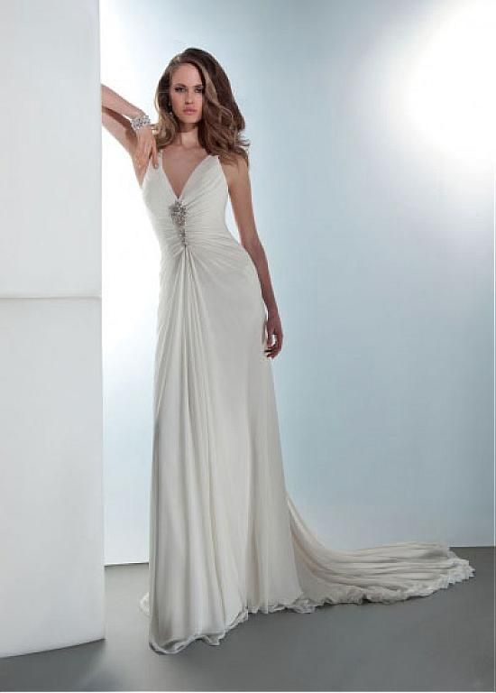 STUNNING CHIFFON SATIN SHEATH V-NECK NATURAL WAISTLINE WEDDING DRESS ...