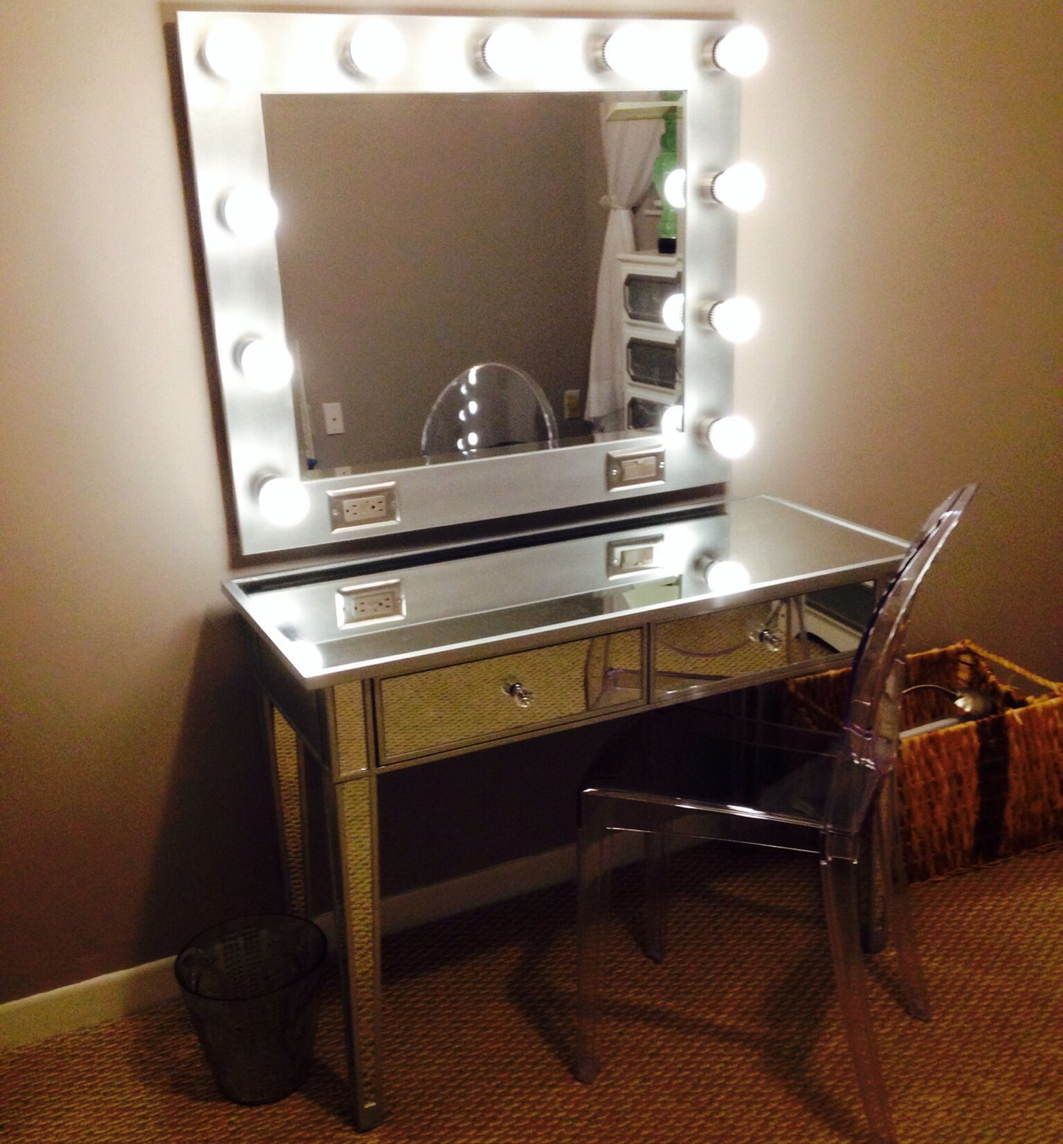 My Diy Vanity Mirror After With Led Lights For A Lot Less Than What Pros Are Ing Their S Designed And Built Me By Husband