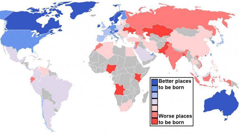 El Mapa Del Día Los Mejores Y Los Peores Países Para Nacer Mapas Geografía Humana Paises
