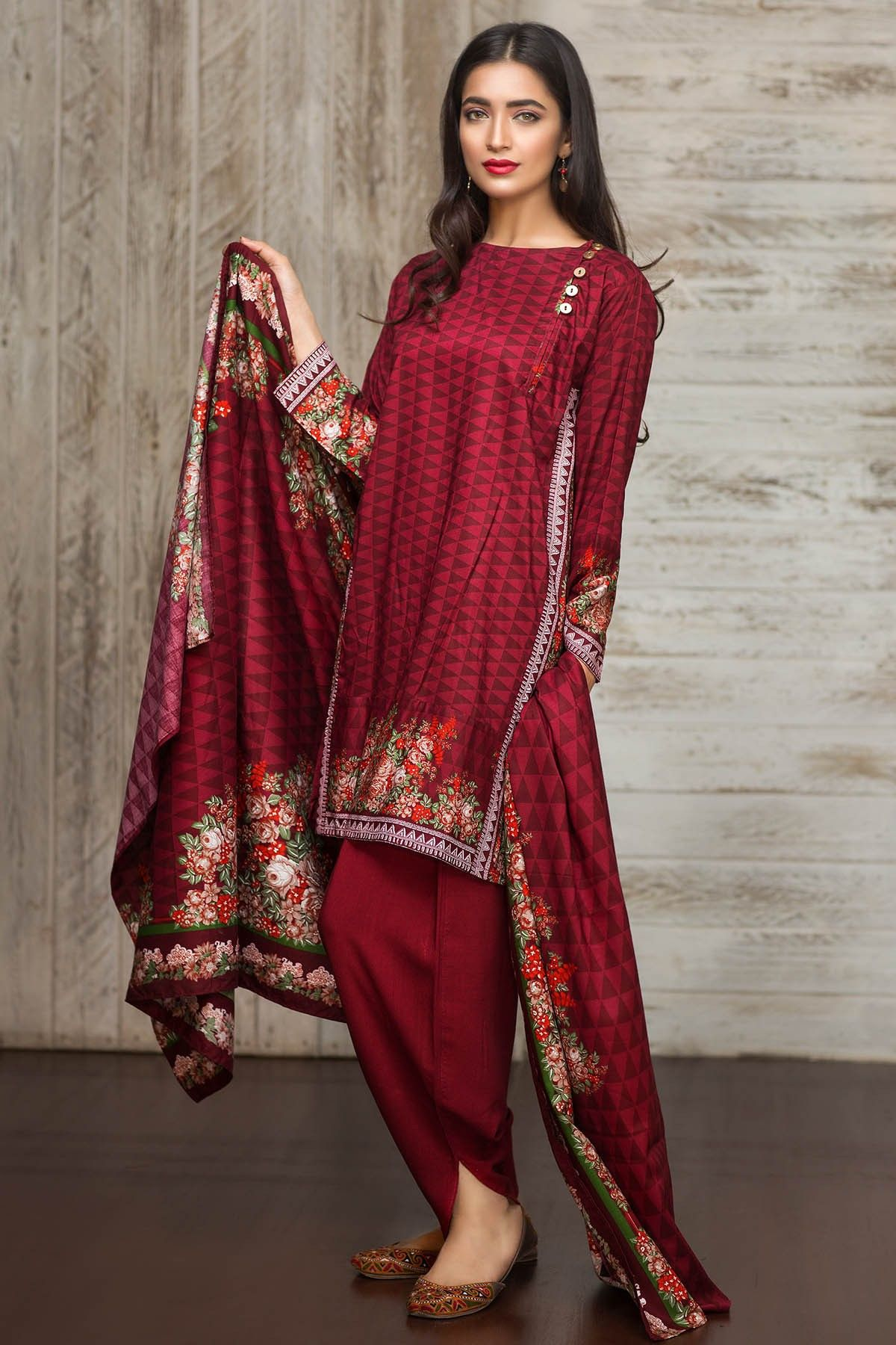 e6d0461127 Khaadi - A16717-B-MAROON - Winter Collection Vol 1 - Unstitched ...