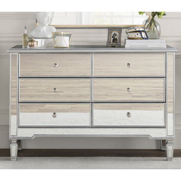 Daly 6 Drawer Double Dresser Mirrored Bedroom Furniture Mirrored Dresser Bedroom Furniture
