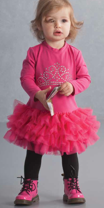 Kate Mack ``Wild Princess`` Sassy Pink Toddler Dress With Crown Bling