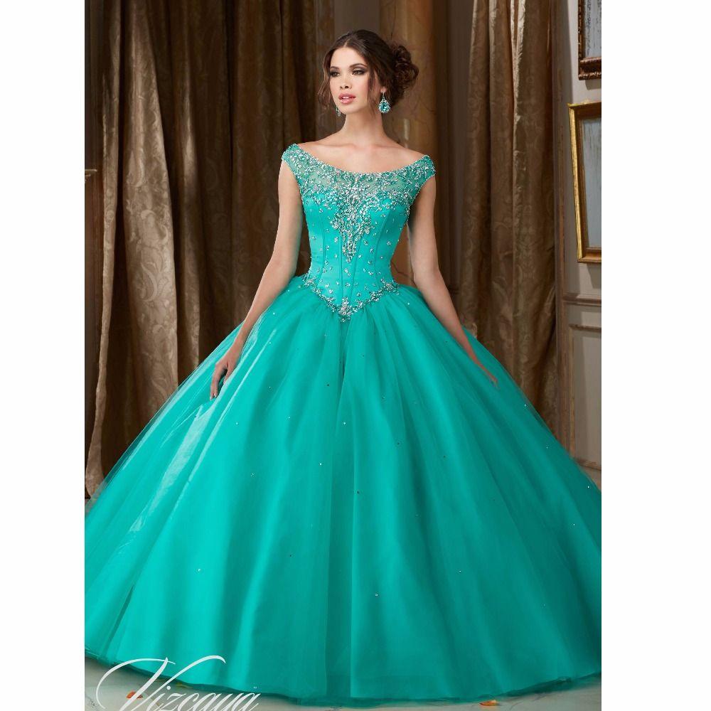 Barato Lindo turquesa vestidos Quinceanera com frisada vestido de ...